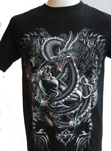Silver Dragon Fighting Dog T Shirt With Large Back Print